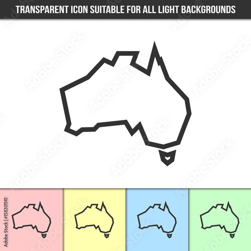 simple outline transparent australia continent shape icon on different types of light backgrounds - Simple Outline Pictures