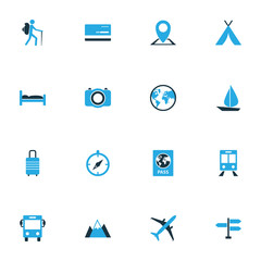 Traveling Colorful Icons Set. Collection Of Bed, Earth, Train And Other Elements. Also Includes Symbols Such As Transport, Mountains, Device.