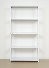 white metal rack near the wall, empty shelves