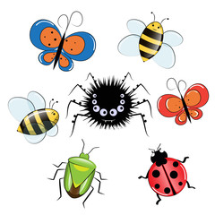 insect cartoon funny set