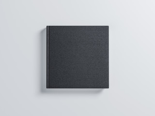 Black square blank Book Mockup with textured hard cover. 3d rendering