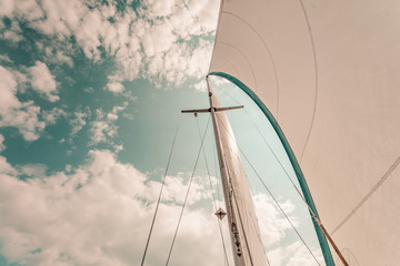 Detailed closeup of sail on sailboat