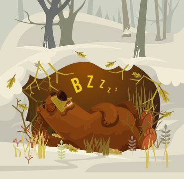 Happy smiling bear character mascot sleeping and resting in his cave. Vector flat cartoon illustration