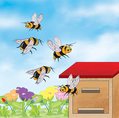 Bees flying around the beehive - jpg illustration