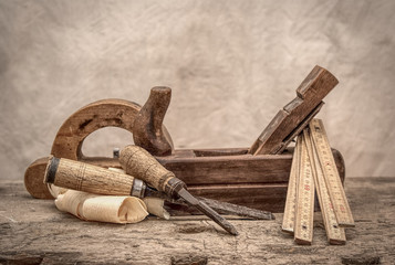 Vintage woodworking tools, stylized hdr image