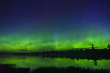Northern lights glowing green in waves and bursts above horizon of night wilderness