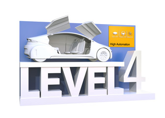 Autonomous car classification of level 4. 3D rendering image.