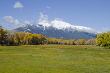 Fresh Snow on a Rocky Mountain Autumn Landscape