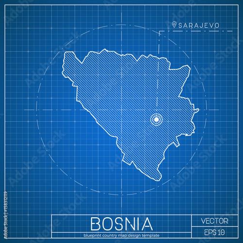 Bosnia blueprint map template with capital city sarajevo marked on bosnia blueprint map template with capital city sarajevo marked on blueprint bosnian herzegovinian map malvernweather Images