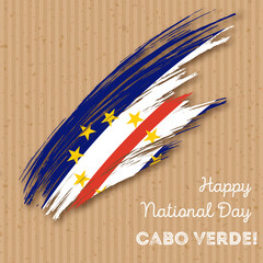 Cabo Verde Independence Day Patriotic Design. Expressive Brush Stroke in National Flag Colors on kraft paper background. Happy Independence Day Cabo Verde Vector Greeting Card.