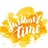 Hello Summer Time Lettering Comic Text Font In Yellow Speech Bubble. Party  Label Tag Advertising
