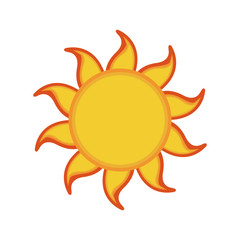 yellow sun summer icon isolated on background vector illustration
