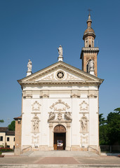 Church of St. Peter and Paul with carved facade bearing the statues of the two saints, Padua, Italy.