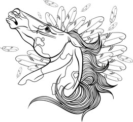 Coloring page with a portrait of a horse.
