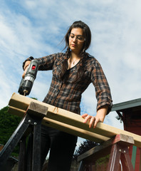 Craftsperson Woman Uses Power Screwdriver Drilling Holes Wood