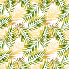 Watercolor and golden graphic palm leaf seamless pattern.
