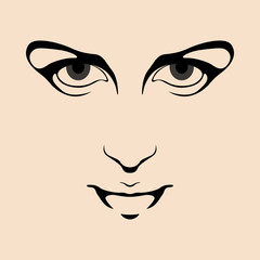 woman face vector illustration Flat style front