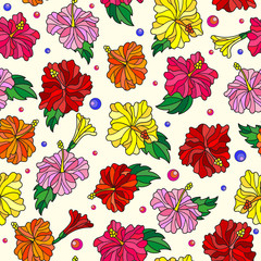 Seamless pattern with spring flowers in stained glass style, flowers, buds and leaves of  hibiscus on a light background