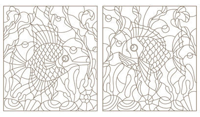 Set contour illustrations in the stained glass style with bright abstract two exotic fish amid seaweed, coral and shells