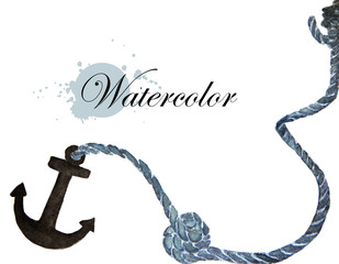 Watercolor painting of anchor and rope - nautical elements with place for text