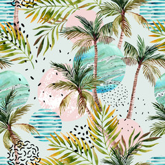 Fototapeten Grafik Druck Abstract summer tropical palm tree background.