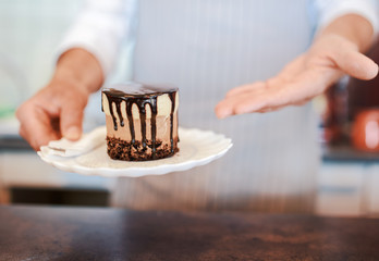 Waiter serving plate with delicious cake in a cafe, close up photo