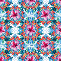 Abstract textured geometric and floral seamless pattern