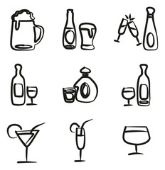 Alcoholic Drinks Icons Freehand