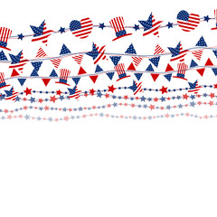 USA flag on white background for independence day or other celebration