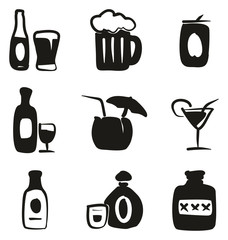 Alcohol Icons Freehand Fill