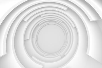 Fotobehang - White Abstract Tunnel. Circular Modern Design