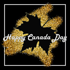 Happy Canada Day card in modern style with glitters. Contour of Maple leaf at golden shiny background.