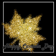 Happy Canada Day card. Glitter Maple golden leaf with shine.