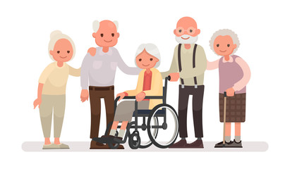 Group of old people on a white background. An elderly woman is sitting in a wheelchair