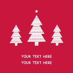 Merry Christmas Card, Three Christmas Trees. Vector Illustration