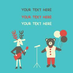 Cute cartoon Deer and Bear greeting card.  Vector illustration.