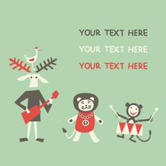 Cute cartoon animals greeting card.  Vector illustration.