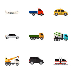 Set Of 9 Editable Vehicle Icons. Includes Symbols Such As Limousine, Truck, Hoisting Machine And More. Can Be Used For Web, Mobile, UI And Infographic Design.