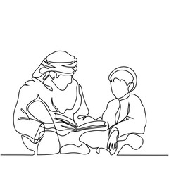 Man and boy reading Koran. Continuous line drawing vector illustration