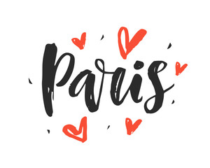Paris. Modern city hand written brush lettering