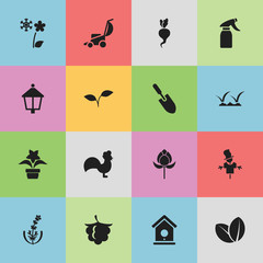 Set Of 16 Editable Farm Icons. Includes Symbols Such As Frosts, Tulip, Streetlight And More. Can Be Used For Web, Mobile, UI And Infographic Design.