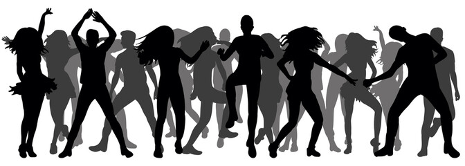 silhouette of dancing people, crowd dancing, disco