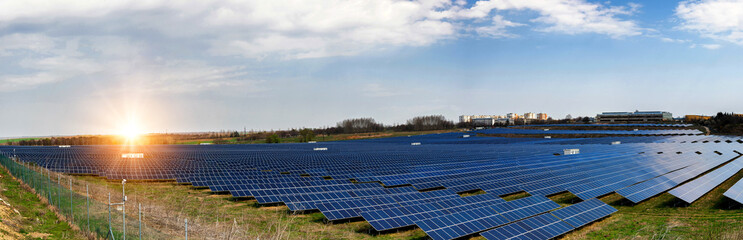 Panoramic view of solar power station