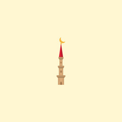 Flat Minaret Element. Vector Illustration Of Flat Mosque Isolated On Clean Background. Can Be Used As Mosque, Minaret And Building Symbols.
