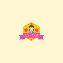 Flat Badge Element. Vector Illustration Of Flat Best Mother Ever Isolated On Clean Background. Can Be Used As Best, Mom And Badge Symbols.