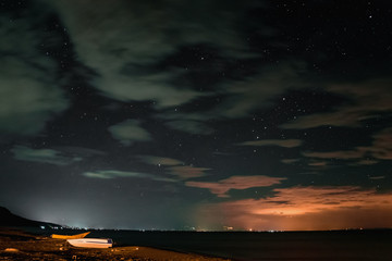Starry sky over the sea