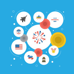 Flat Military Man, Firecracker, American Banner And Other Vector Elements. Set Of History Flat Symbols Also Includes Medallion, Day, Firecracker Objects.