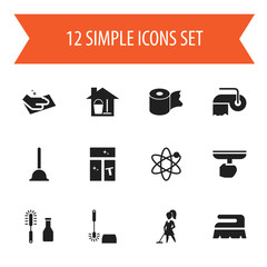 Set Of 12 Editable Cleaning Icons. Includes Symbols Such As Toilet Paper, Bucket With Mop, Towel And More. Can Be Used For Web, Mobile, UI And Infographic Design.