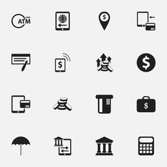 Set Of 16 Editable Finance Icons. Includes Symbols Such As Edifice, Internet Sale, Computation Machine And More. Can Be Used For Web, Mobile, UI And Infographic Design.