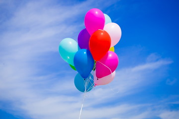 Balloons, close up, blue sky